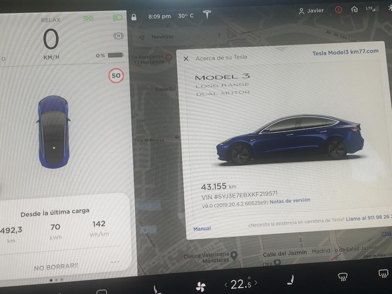 Batería del Tesla Model 3 completamente vacía entes de iniciar la carga.
