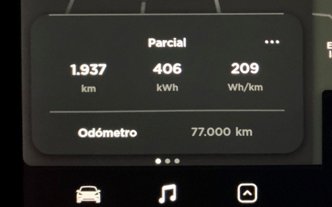 Cumpleaños de nuestro Tesla Model 3. 77.000 kilómetros.