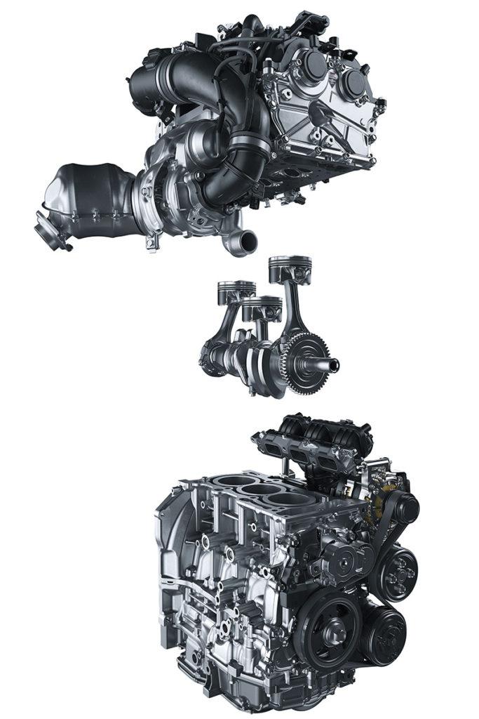 Motor sobrealimentado de tres cilindros y 1,6 litros (Código G16E-GTS). Bloque tipo open-deck.
