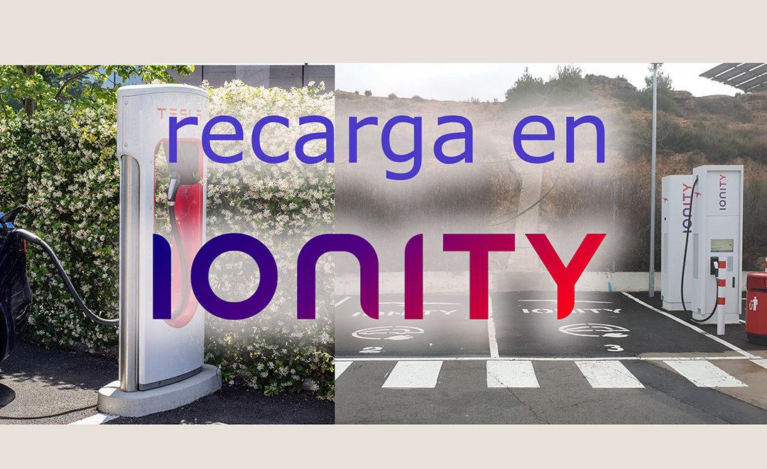 Recarga del Tesla en Ionity.