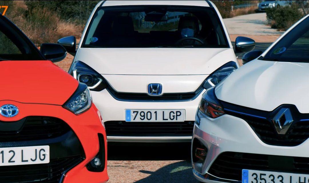 Vídeo comparativa: Honda Jazz 1.5 i-MMD, Renault Clio E-TECH y Toyota Yaris 120H