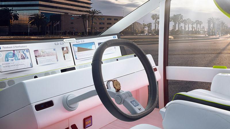 Rinspeed Oasis. Prototipo. Imagen del volante y salpicadero